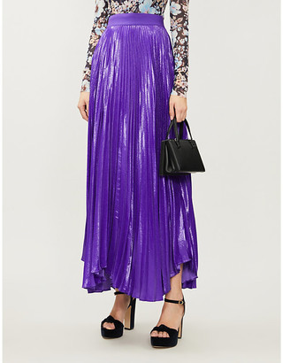 Alice + Olivia Katz pleated silk-blend maxi skirt