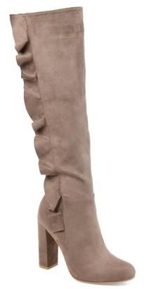 Brinley Co. Womens Extra Wide Calf Knee-high Ruffle Boot