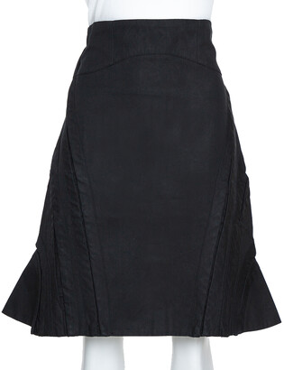 McQ Black Cotton Structured A Line Skirt M