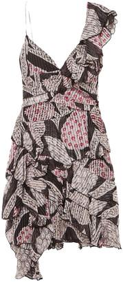 Isabel Marant Enta Asymmetric Ruffled Printed Silk-voile Midi Dress
