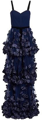 Marchesa Notte 3D Floral Applique Tiered Gown