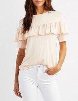 Charlotte Russe Ruffle-Trim T-Shirt