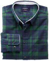 Slim Fit Navy And Green Check Washed Oxford Cotton Shirt Single Cuff Size Xs
