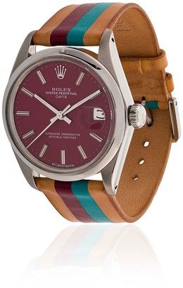 La Californienne wine plum 34 MM Rolex Striped Leather Band Wristwatch