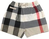 Burberry Check Nylon & Cotton Swim Shorts