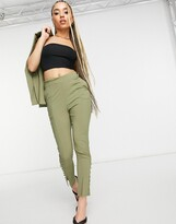 Thumbnail for your product : Little Mistress split front tailored trousers co-ord in khaki