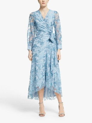 Y.A.S Wendy Floral Wrap Dress, Dusty Blue