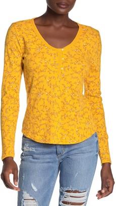 Lucky Brand Floral Print Long Sleeve Henley