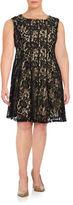 Gabby Skye Plus Sleeveless Lace Overlay Dress