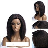 EO Bob Style 150% Density Kinky Straight Wigs For Women Off Black Color Glueless Synthetic Hair Lace Front Wig (16in, 1b#)