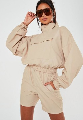 Missguided Sand Co Ord High Neck Overhead Windbreaker Jacket
