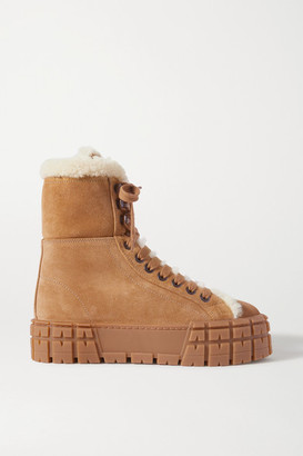 Prada Wheel Shearling-lined Suede Platform Ankle Boots - Tan