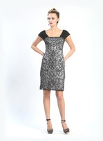 Sue Wong Embroidered Straight Neck Dress N4302