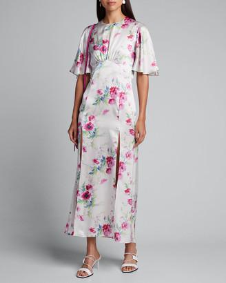 Les Rêveries Flutter-Sleeve Split-Front Floral Dress