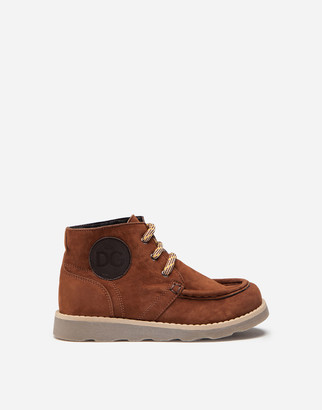 Dolce & Gabbana Suede Ankle Boots With Branded Patch