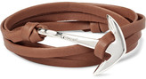 Miansai Anchor Leather Silver-Plated Wrap Bracelet