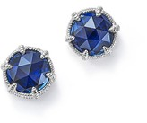 Judith Ripka Sterling Silver Eclipse Stud Earrings with Lab-Created Blue Corundum