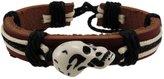 Zeckos Leather Carved Skull Bead Cord Bracelet