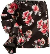 MSGM Floral-print ruffled satin mini skirt