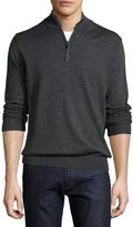 Neiman Marcus Wool-Blend Quarter-Zip Mock-Neck Sweater, Charcoal