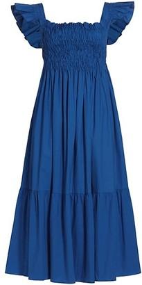 Sea Smocked Ruffle Midi Dress