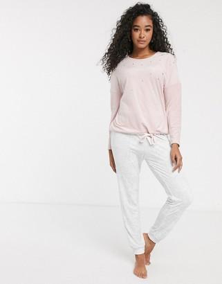 Women'secret velour stud detail loungewear set in pink