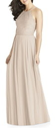 Dessy Collection Lace & Chiffon A-Line Gown