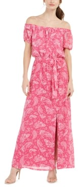 INC International Concepts Inc Off-The-Shoulder Paisley-Print Maxi Dress, Created for Macy's