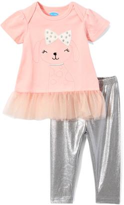 Bon Bebe Girls' Casual Dresses ASSORTED - Coral & Silver Puppy Tulle-Hem Dress & Leggings Set - Infant