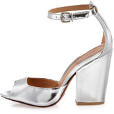 Schutz Anete Mirror-Leather Sandal, Prata