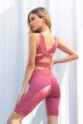 Nasty Gal Womens Live a Little Cut-Out Workout Crop Top - Mauve