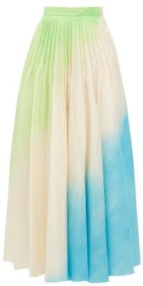 Roksanda Ambra Hand Sprayed Ripple Textured Skirt - Womens - Green Multi