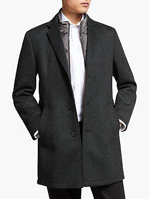 Bugatti Flexcity Wool Blend Overcoat, Grey