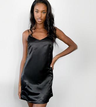 Parisian Tall satin cami slip dresss in black