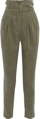 Frame Harem Pleated Washed-twill Tapered Pants