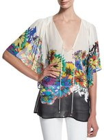Roberto Cavalli Flower Power V-Neck Tunic, Black/White/Blue
