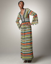 Phoebe Couture Long-Sleeve Striped Maxi Dress