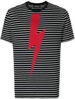 Neil Barrett lightning print striped T-shirt