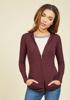 ModCloth Layer to Rely On Hoodie in Merlot in L