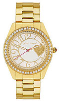 Betsey Johnson Bling Bling Time 3 Hand Crystal Bezel Stainless Steel Boyfriend Watch
