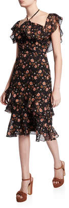 J.o.a. Floral-Print Tiered Ruffle Off-the-Shoulder Midi Dress