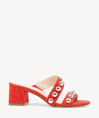 Sole Society Women's Sasandrah Studded Block Heels Sandals Bright Red Size 5 Leather From