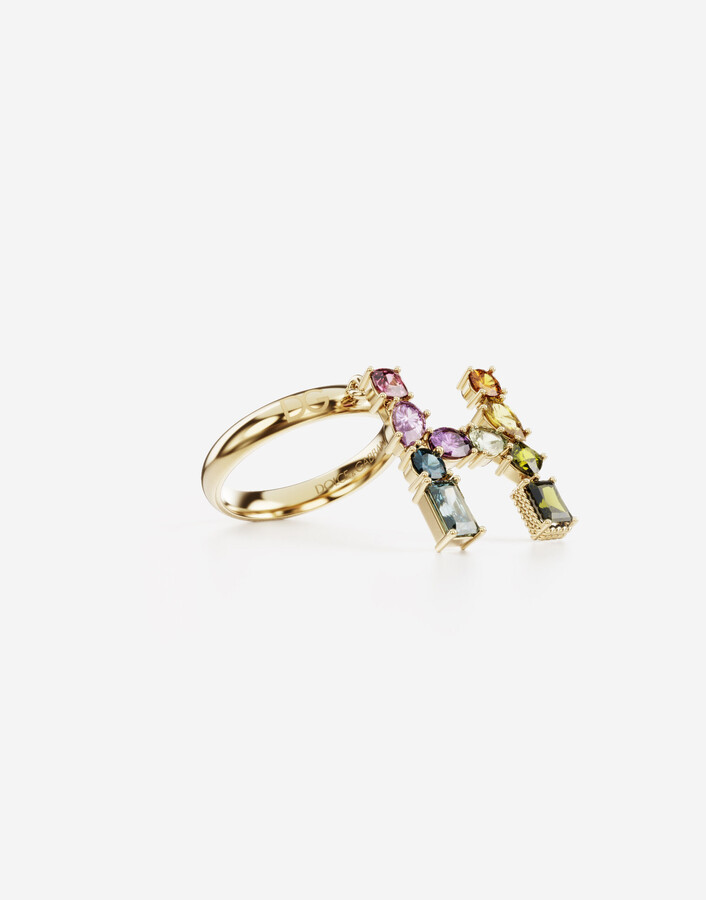 Thumbnail for your product : Dolce & Gabbana Rainbow alphabet H ring in yellow gold with multicolor fine gems
