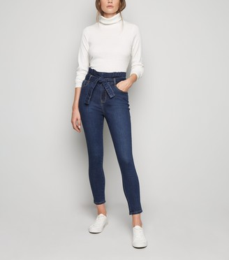 New Look Urban Bliss Tie High Waist Skinny Jeans