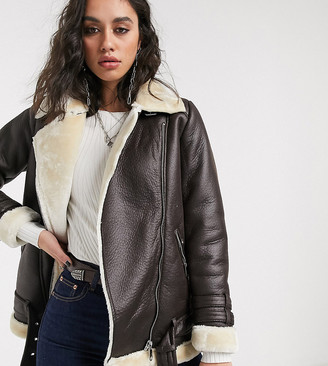 Only aviator jacket in faux leather with contrast shearling