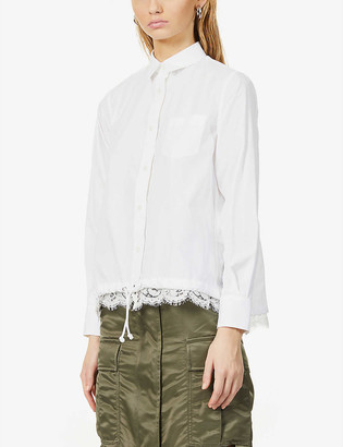 Sacai Lace-trim cotton-blend shirt