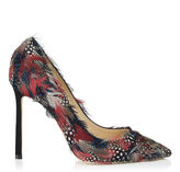 Jimmy Choo ROMY 110 Bordeaux Feather Mix Pointy Toe Pumps