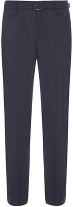 Neil Barrett Belted Stretch Wool-blend Trousers