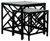 David Francis Furniture Chippendale 2 Piece Nesting Table Color: Black