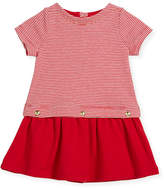 Petit Bateau Short-Sleeve Striped Dress w/ Golden Buttons, Size 3-36 Months